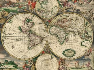 World map, produced in Amsterdam in 1689.