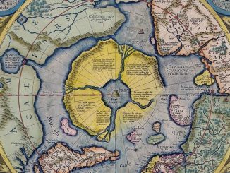 Arctic continent on the Gerardus Mercator map of 1595.