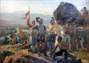 Fundacion de Santiago by Chilean painter Pedro Lira